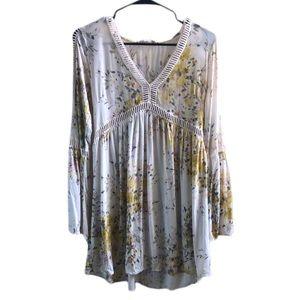 LoveStitch Soft Floral Crochet Cutout Hi Lo Dress